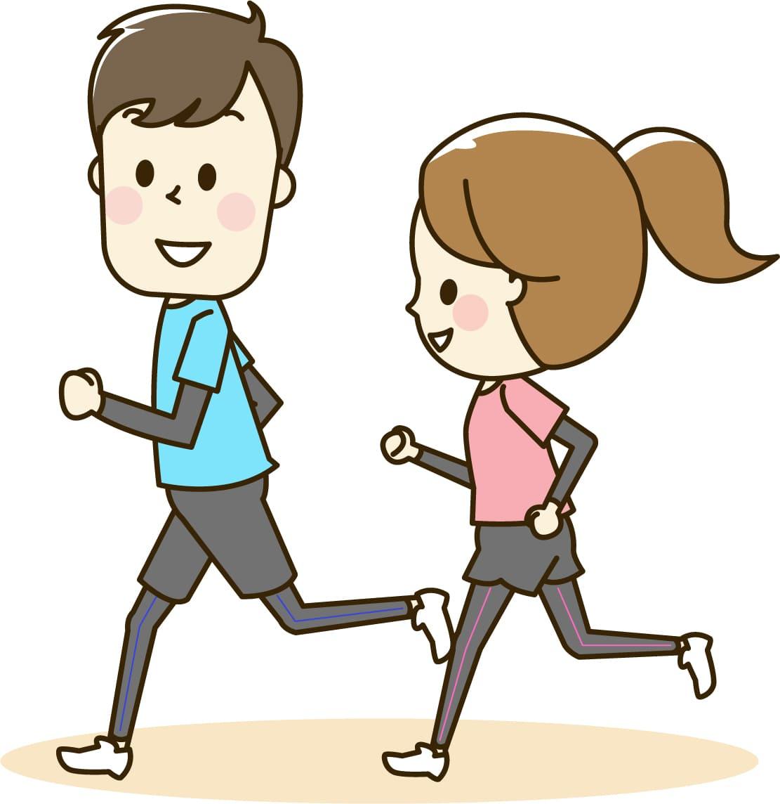 ジョギングしている人々